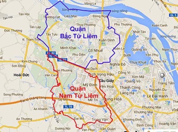 Bản đồ hành chính quận Từ Liêm