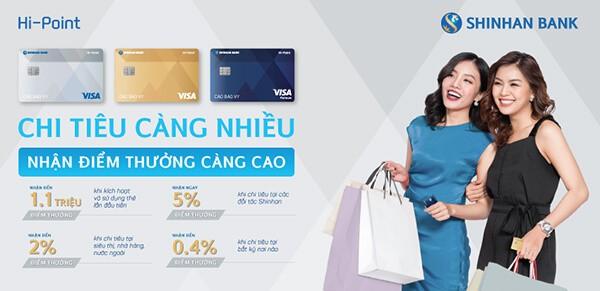 Thẻ tín dụng Shinhanbank với nhiều tiện ích