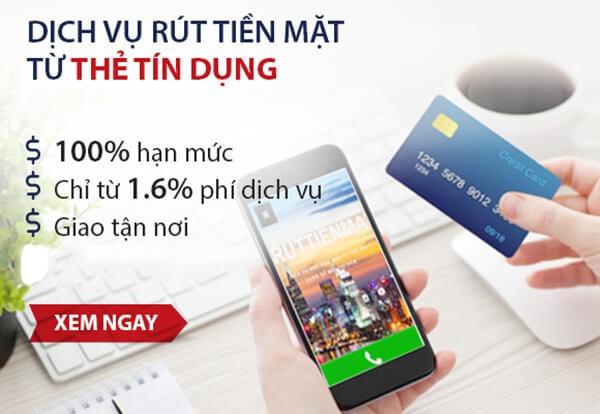 Dịch vụ rút tiền mặt thẻ tín dụng BIDV phí chỉ từ 1,6% tại dichvuthetindung.vn