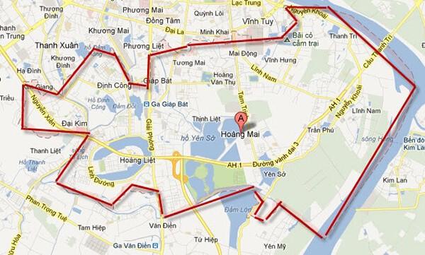 Bản đồ hành chính quận Hoàng Mai